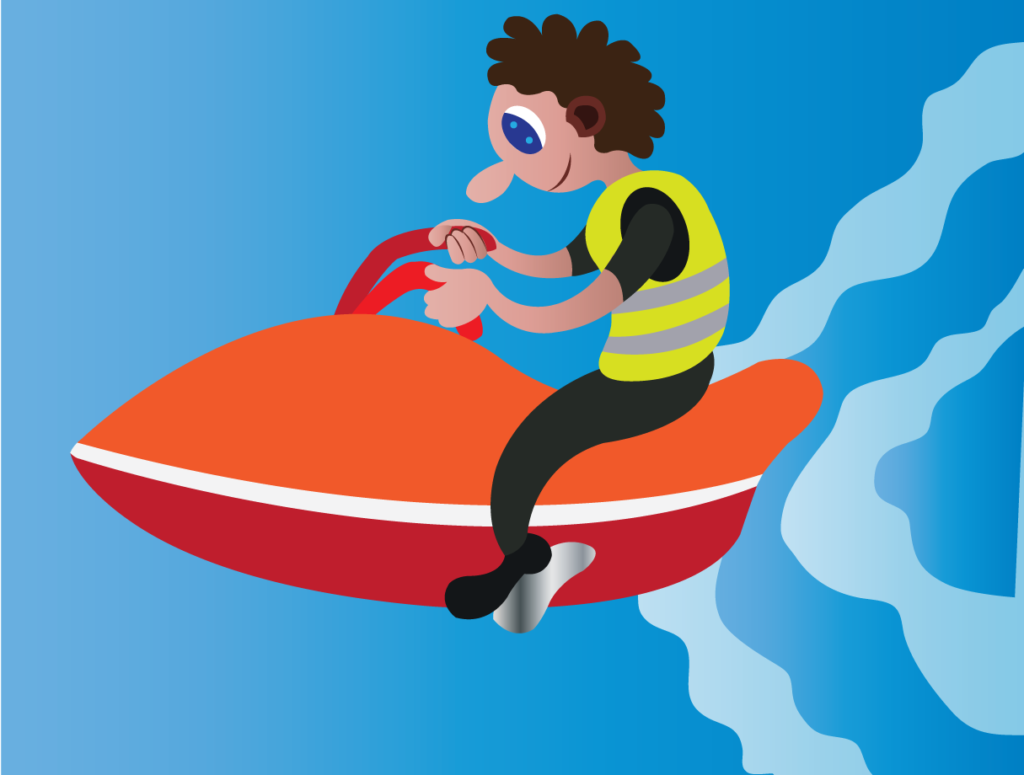 Vector Issue #6182: a youngster enjoying himself on a jet ski