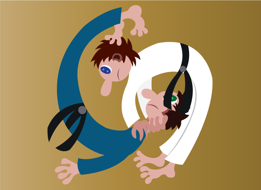Vector Issue #6184: two judo players Joust with one another