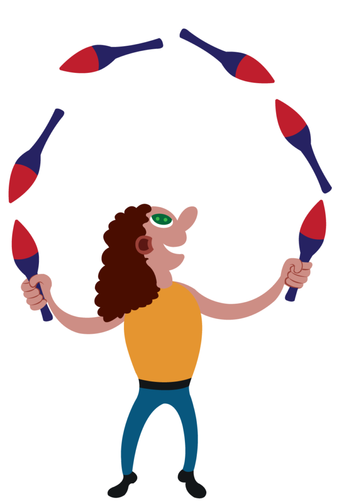 Vector Issue #6058: a juggler throws his things into the air