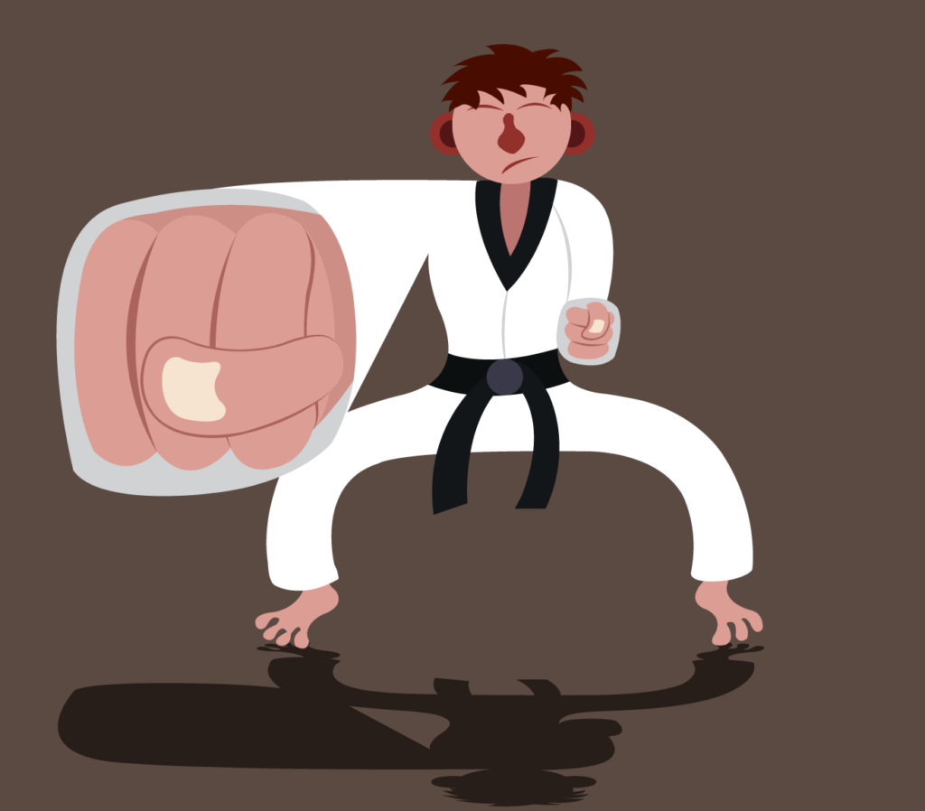 Vector Issue #6185: a martial artist clenches his fist
