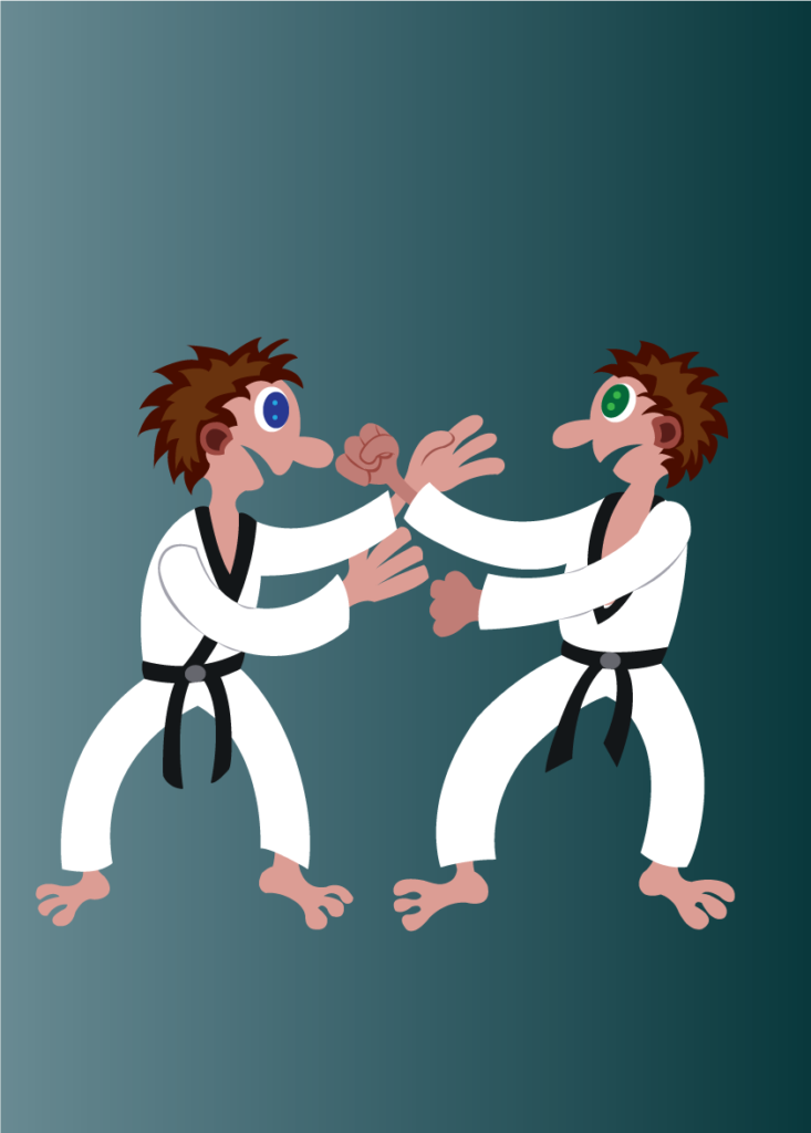 Vector Issue #6189: two martial artists hold fists at one another
