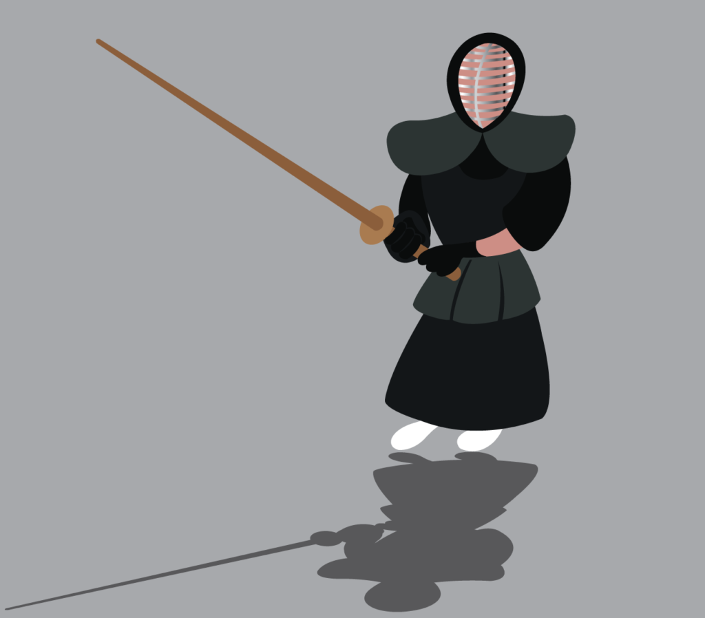 Vector Issue #6194: a kendo fighter ready to  hit his opponent