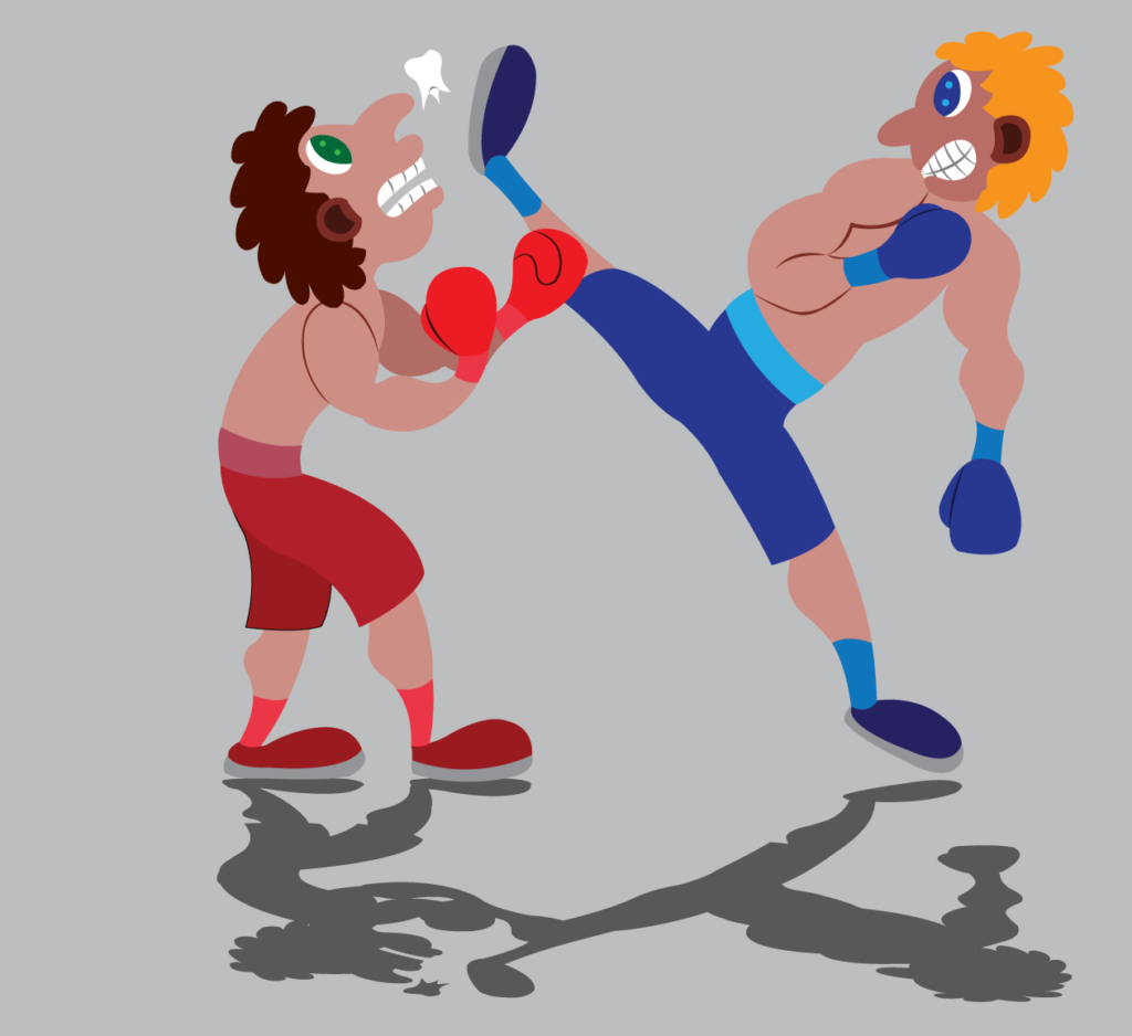 Vector Issue #6195: a kickboxer gives his opponent some heavy blows,