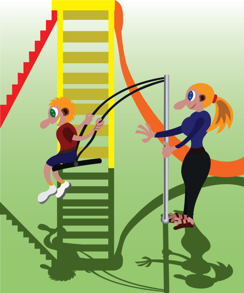 Vector Issue #6315: a kid playing the swing with its mama in the playground