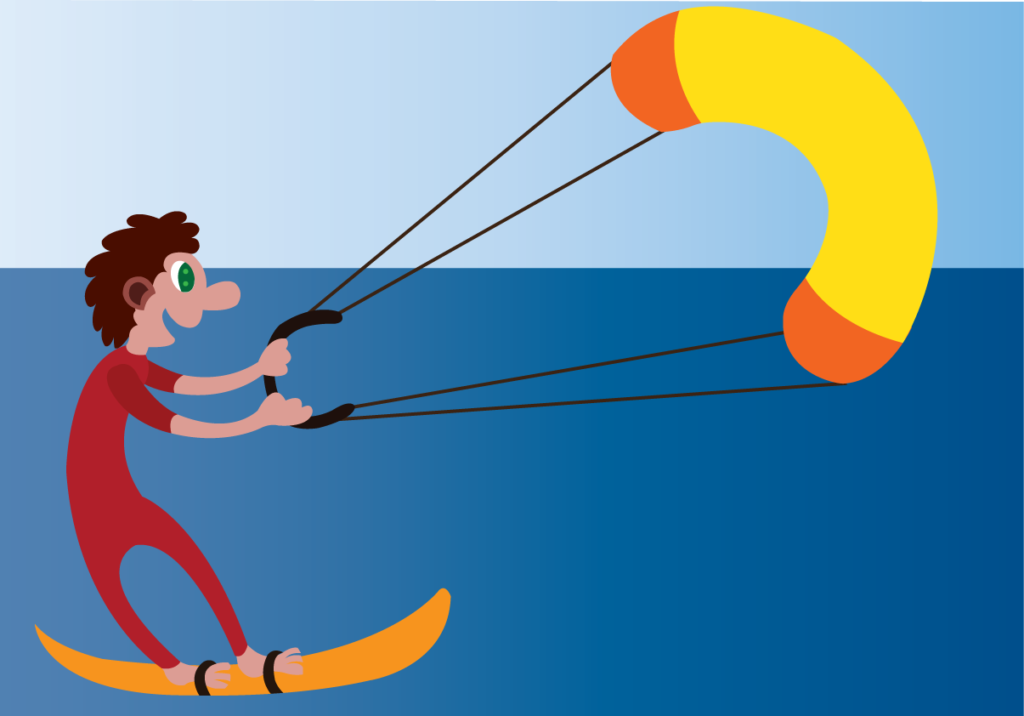 Vector Issue #6196: a kite surfer enjoys himself on the beach front
