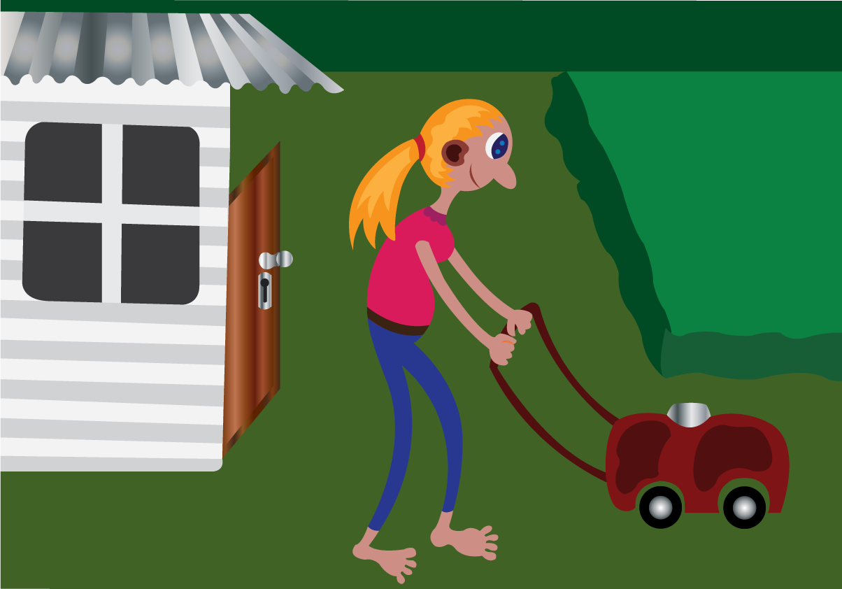 Vector Issue #6626: Girl doing lawn mowing in her backyard