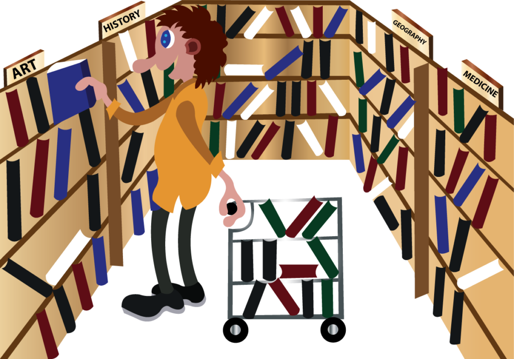 Vector Issue #6061: a librarian arranges books on the shelves,