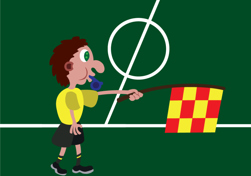Vector Issue #6062: a linesman  busy outside the football pitch
