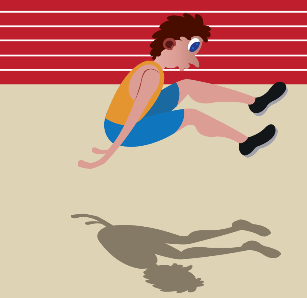 Vector Issue #6197: A long jumper about to hit the ground
