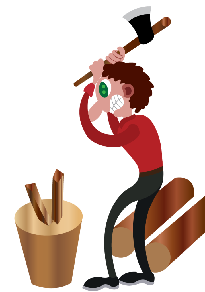 Vector Issue #6063: A lumberman chopping wood