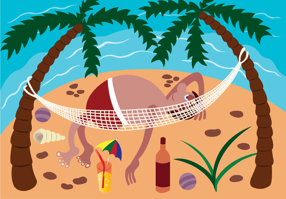 Vector Issue #6629: Luxury Islands 2-A holidaymaker relaxing on a hammock on a paradise Island