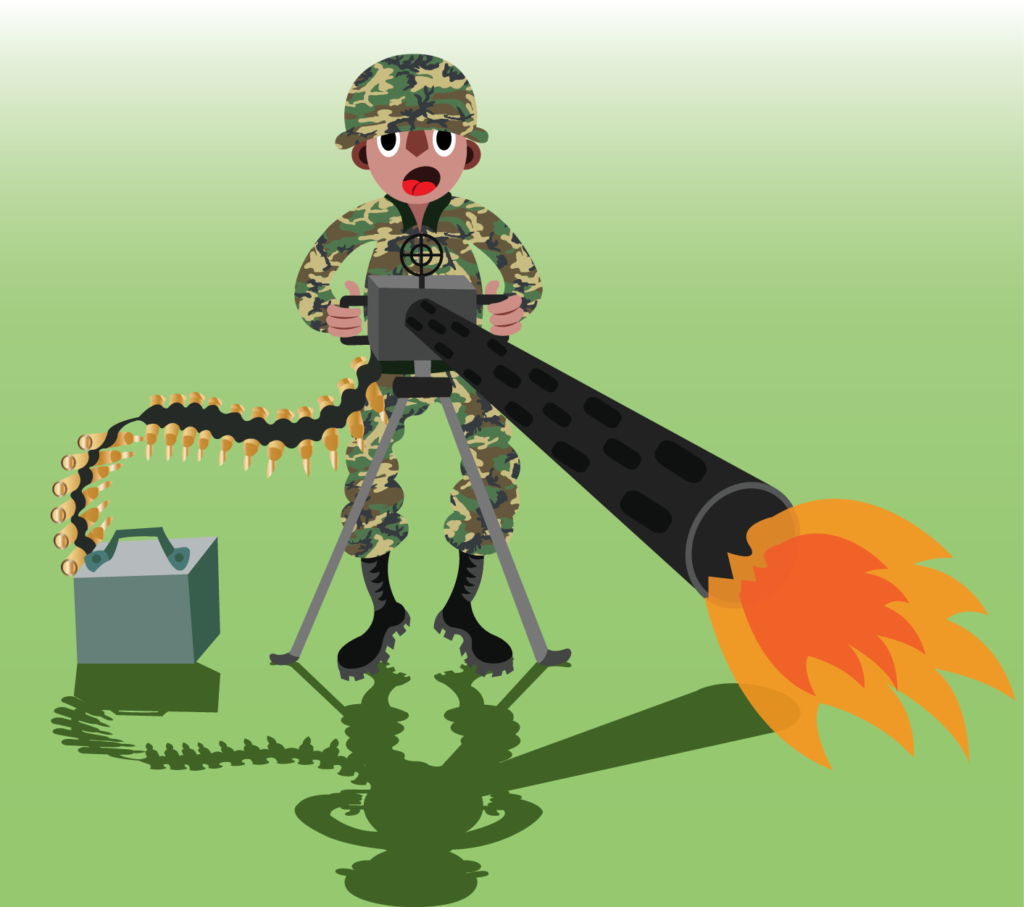 Vector Issue #6319: A soldier fiercely fires a machine gun,