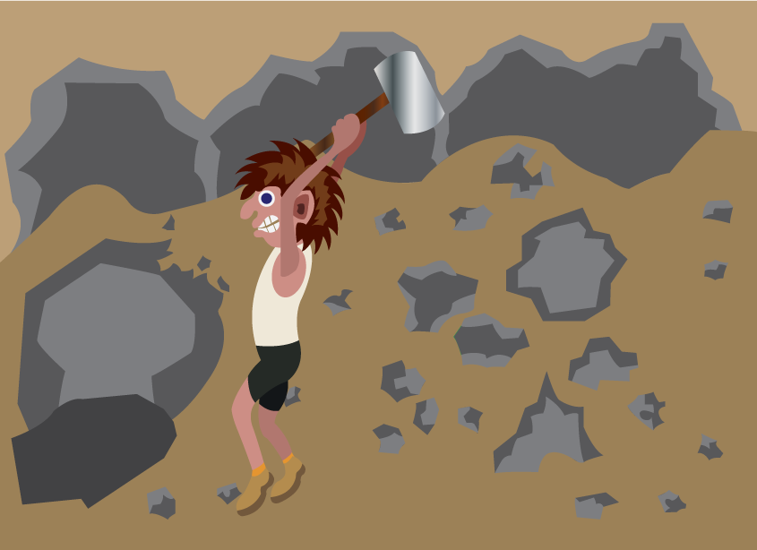 Vector Issue #6065: Doing hard manual labor, a manual laborer breaking stones in a quarry