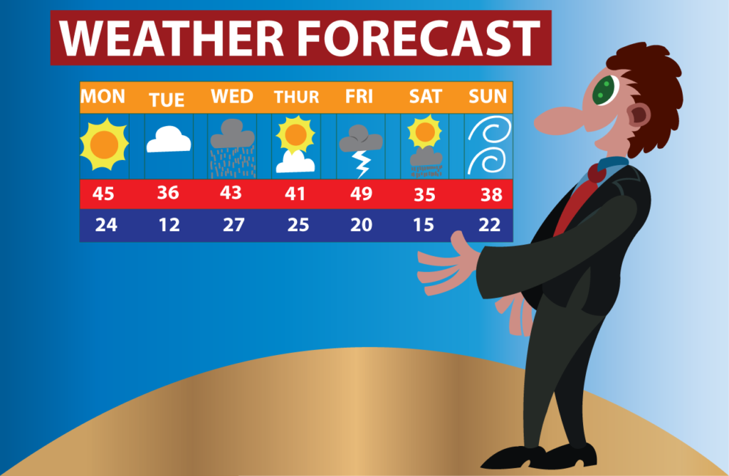 Vector Issue #6069: A meteorologist giving details of their latest weather forecast