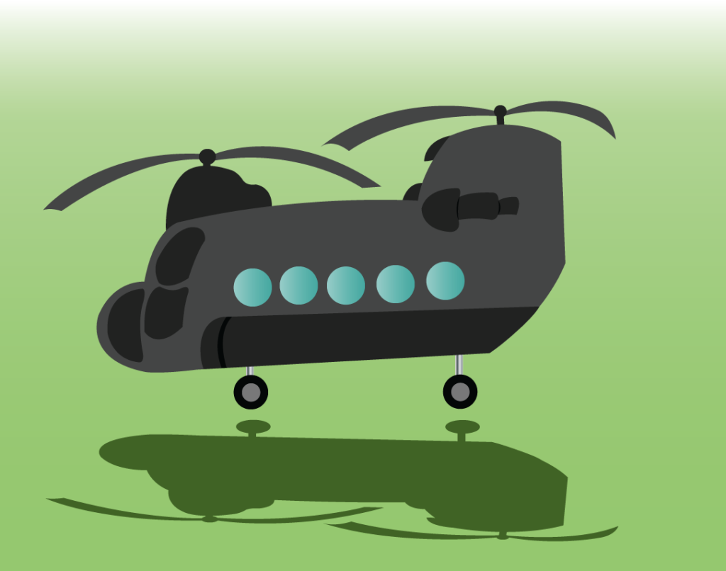 Vector Issue #6323: the world famous Chinook, a twin rotor military helicopter ready for take off