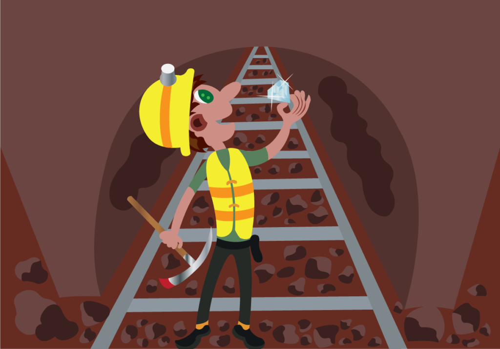 Vector Issue #6072: A miner uncovers Precious Gem from a mine site