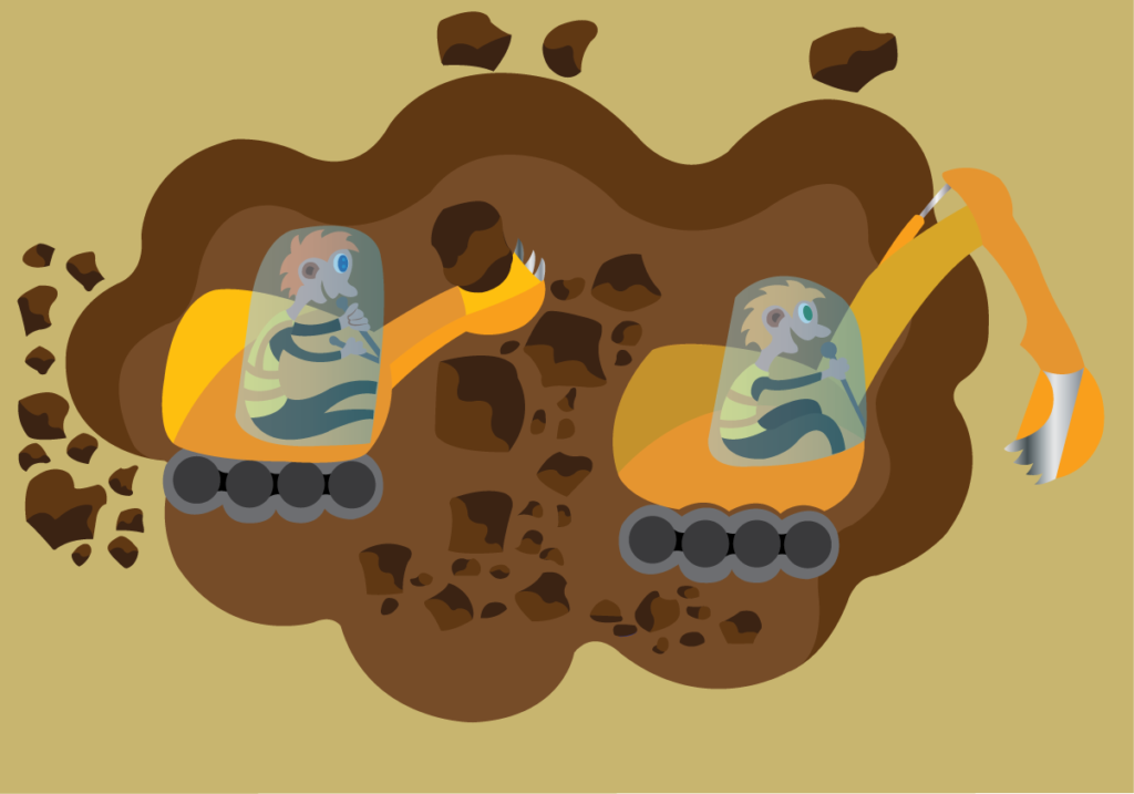 Vector Issue #6073: Workers excavating a hole from a mine site