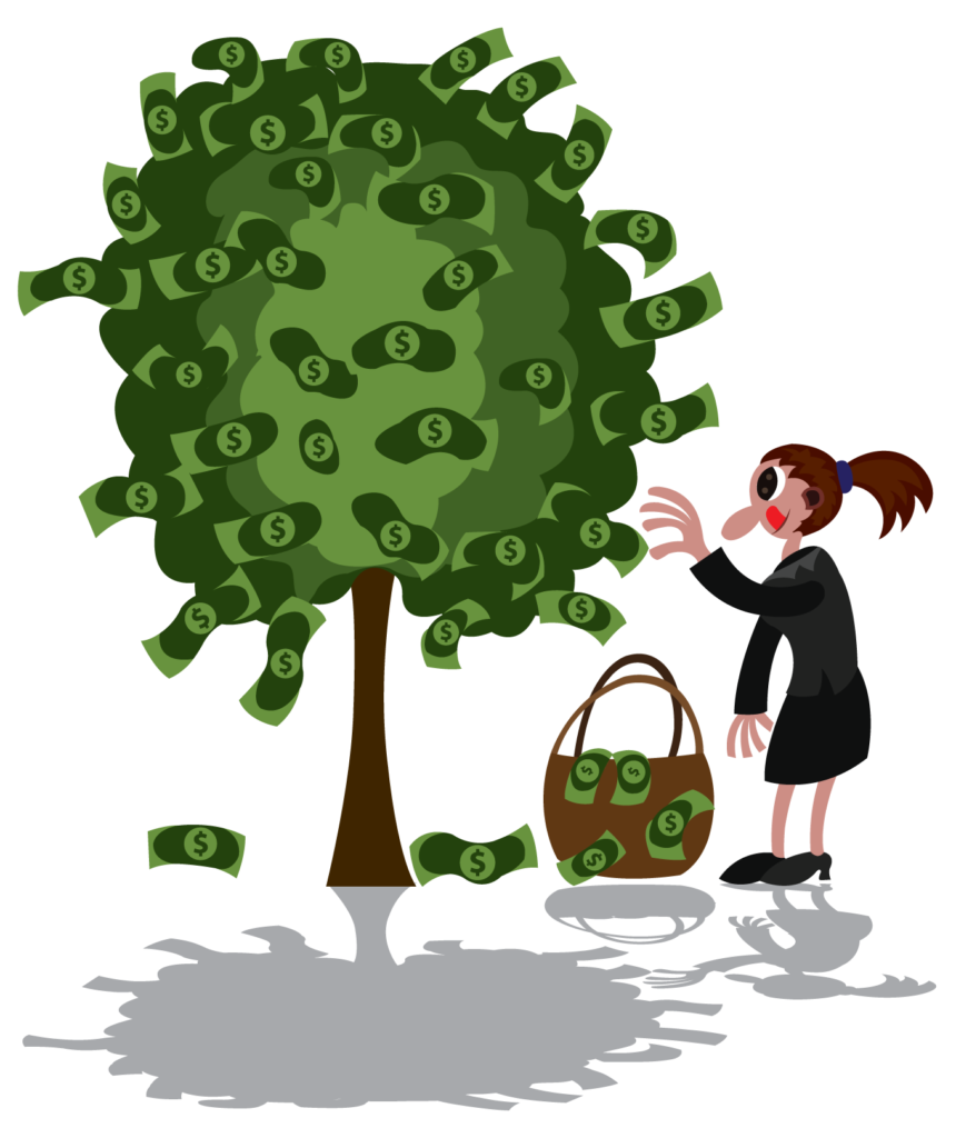 Vector Issue #6329: Money on Trees, A lady picks money growing from a tree