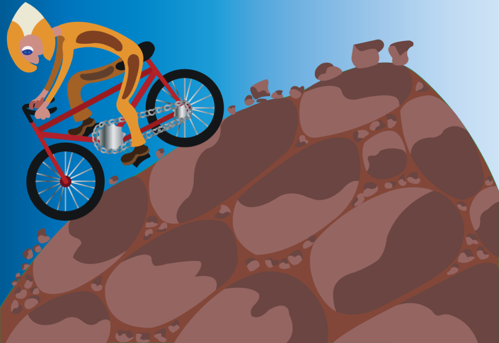 Vector Issue #6202: A biker riding downhill on a mountain bike