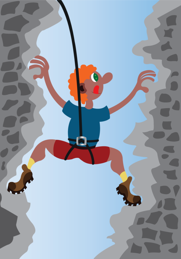 Vector Issue #6203: A mountaineer scaling rocks of a steep mountain side