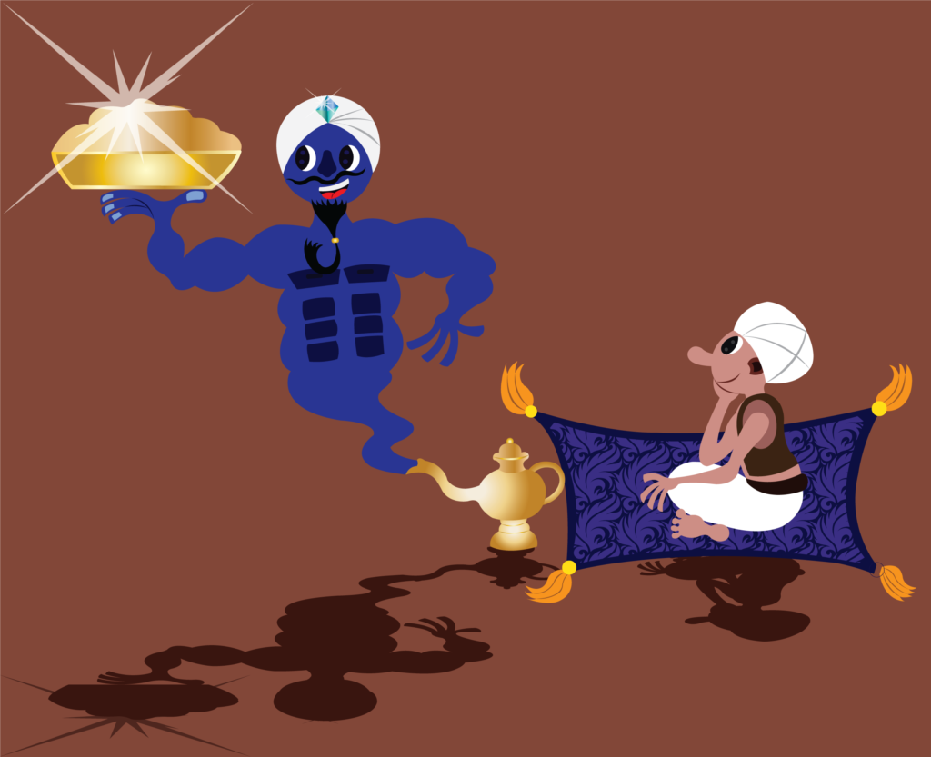 Vector Issue #6331: My Good Genie, A guy sits waiting for a genie to grant him his wish