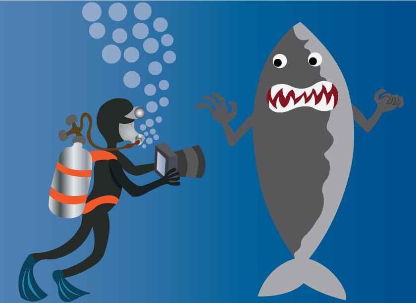 Vector Issue #6078: Sea life Nature Photographer, A deep sea diver taking photo of a Shark