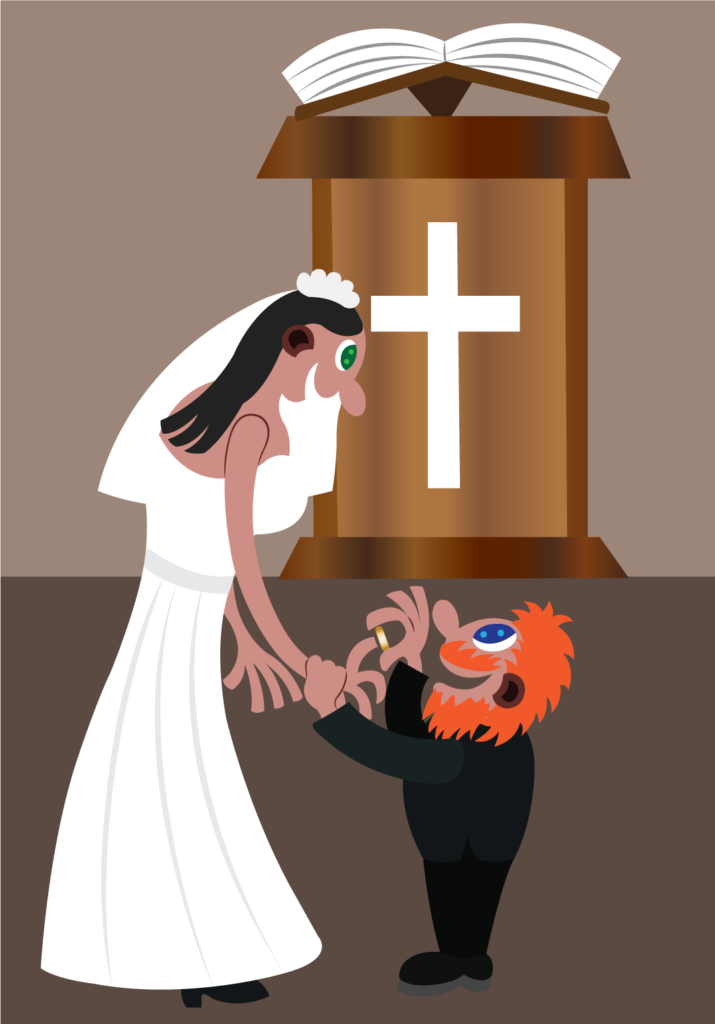 Vector Issue #6332: A couple exchange vows at the altar