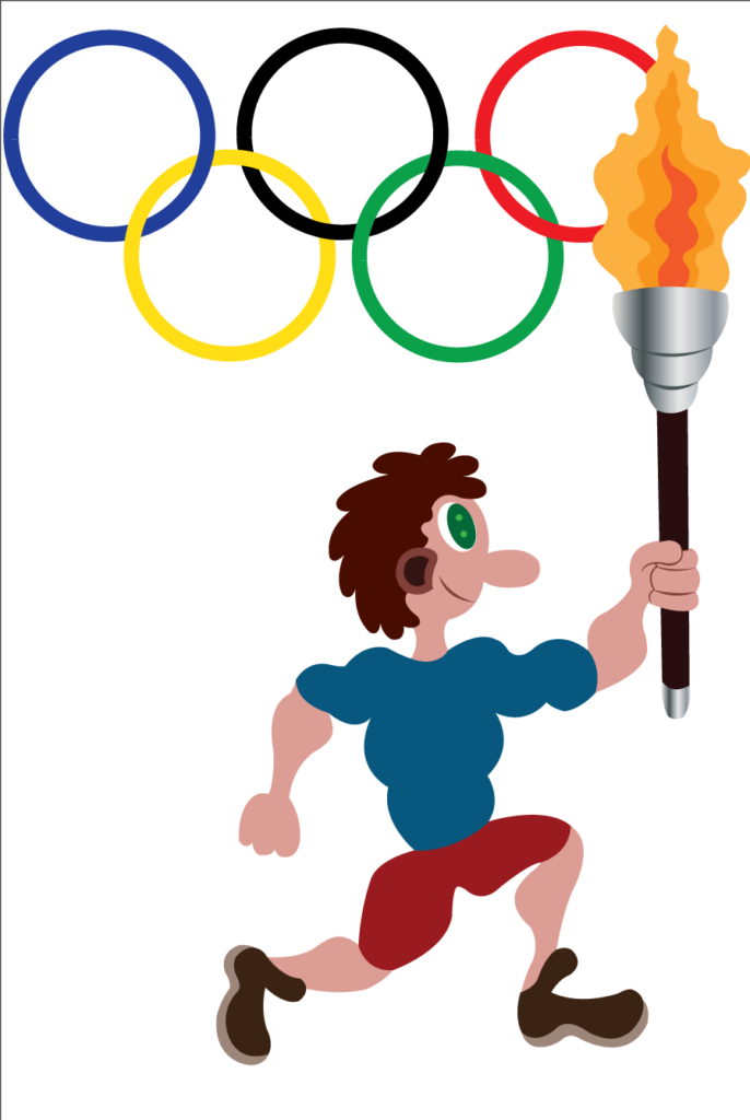 Vector Issue #6205: an athlete running with the Olympic torch with Olympic flag in the background