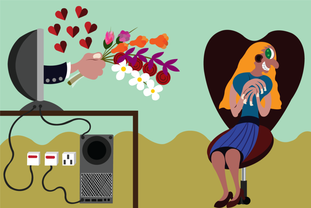 Vector Issue #6334: A girl receives a bouquet of flowers from a guy through an online dating site