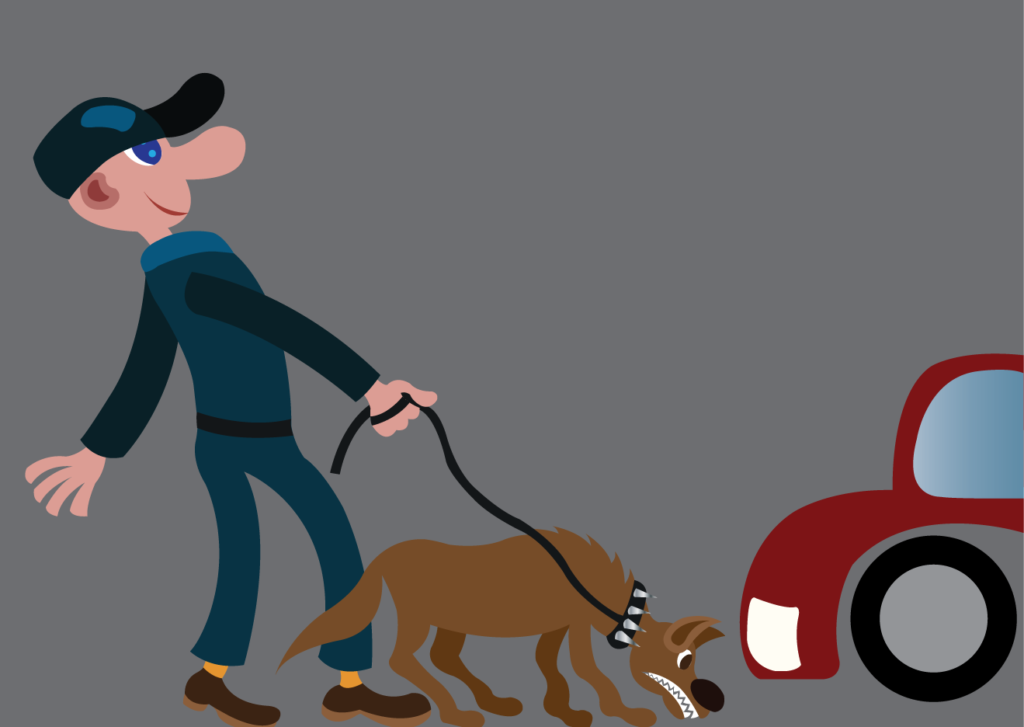 Vector Issue #6081: A park security guard checks on customers vehicles using a sniffer dog