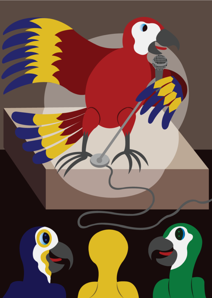 Vector Issue #6335: Parrot Voice, A singer performs to an audience