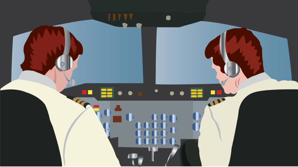Vector Issue #6083: an experienced pilot inside a cockpit with a co-pilot flying a big jet