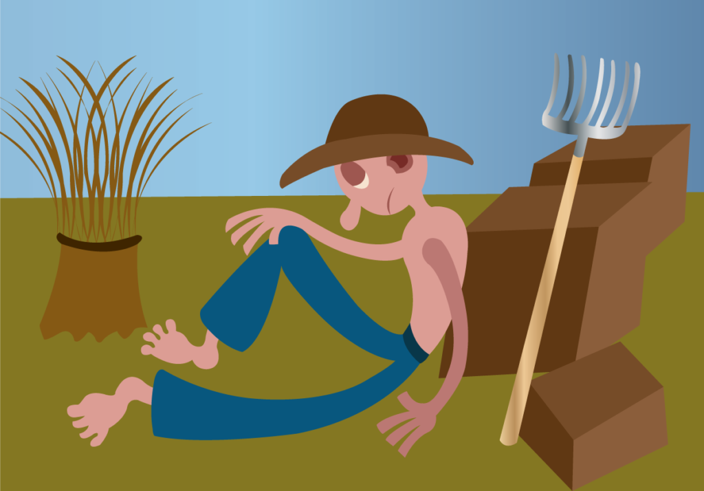 Vector Issue #6084: A plantation farmer resting out in the fields