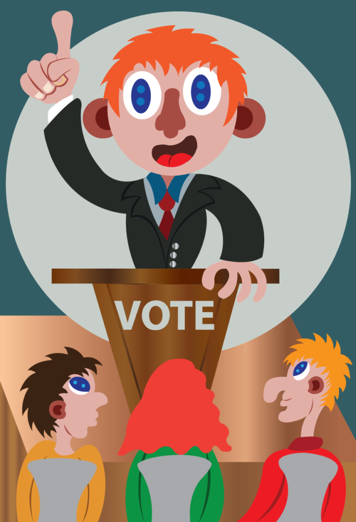 Vector Issue #6088: A politician on Campaign asking for votes