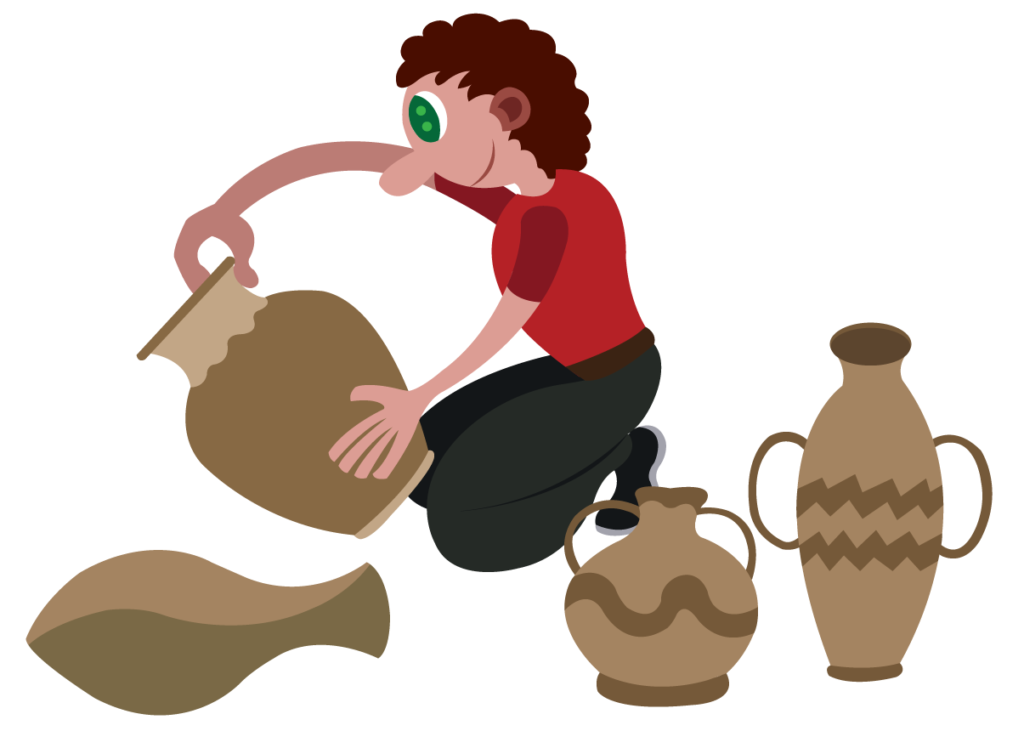 Vector Issue #6090: A potter molding clay pots