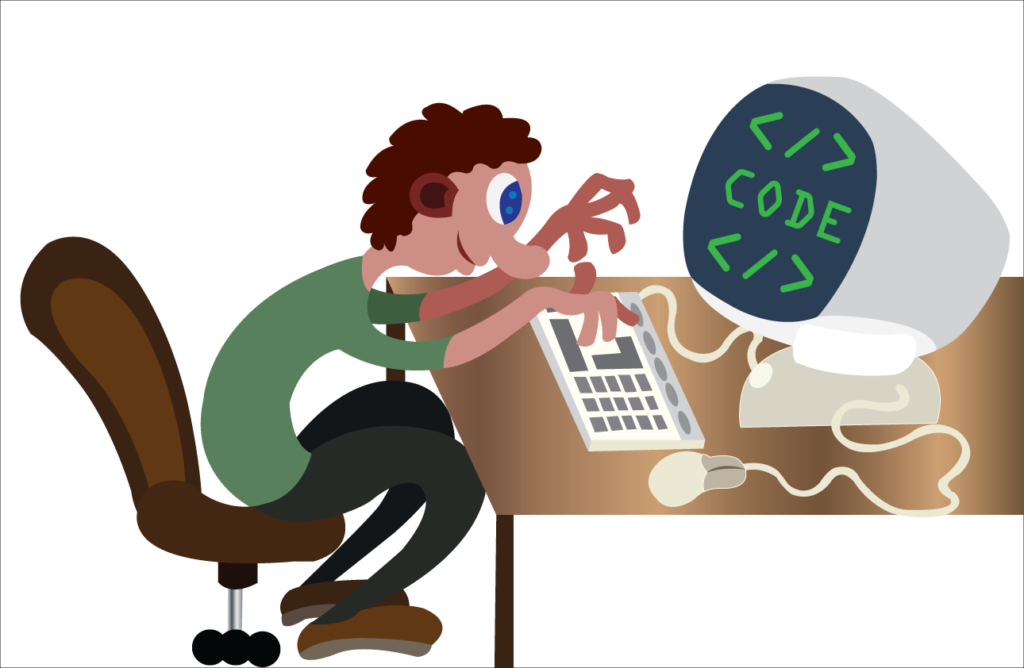 Vector Issue #6092: A programmer busy doing some coding