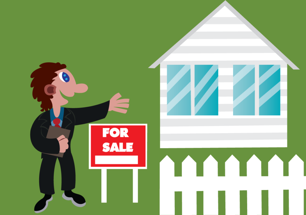 Vector Issue #6094: a real estate agent advertising a foreclosed home,