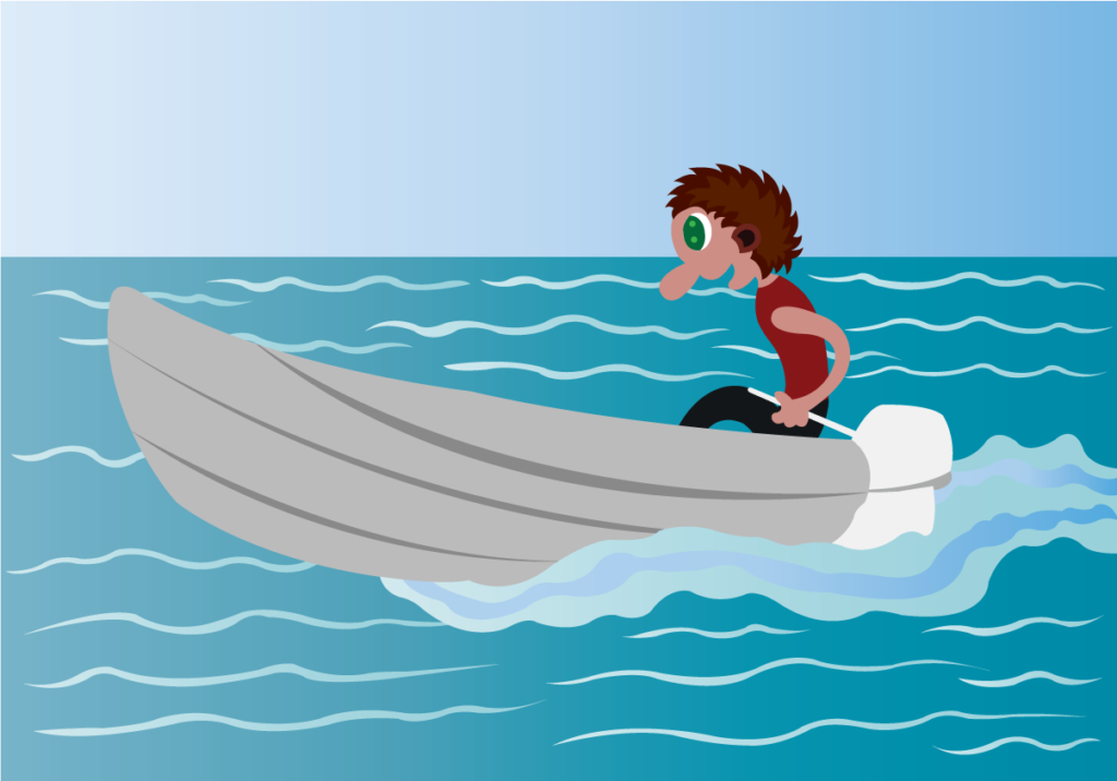 Vector Issue #6343: Rowing in the Calm Lake, a boy driving a speed boat