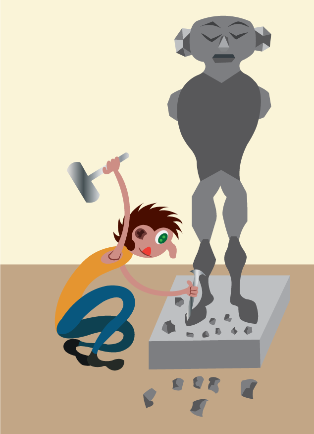 Vector Issue #6101: a sculptor chiselling a marble statue,
