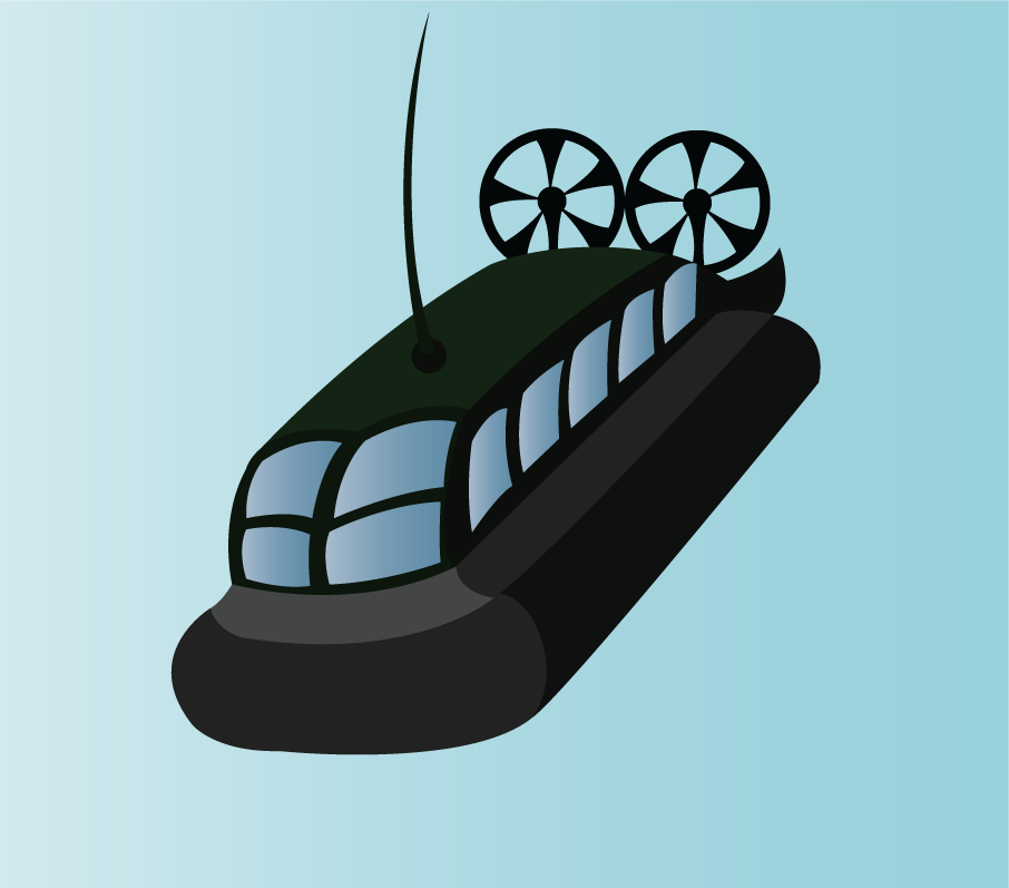 Vector Issue #6348: a hovercraft sails towards shore