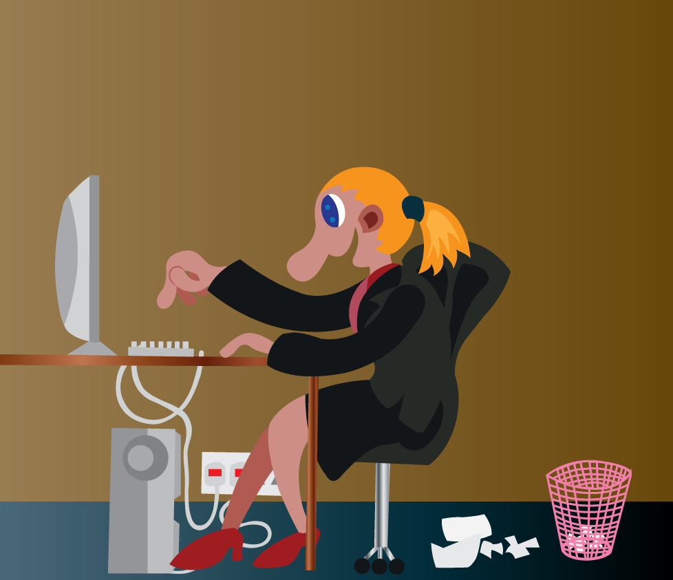 Vector Issue #6102: An office Secretary busy on the office desk,