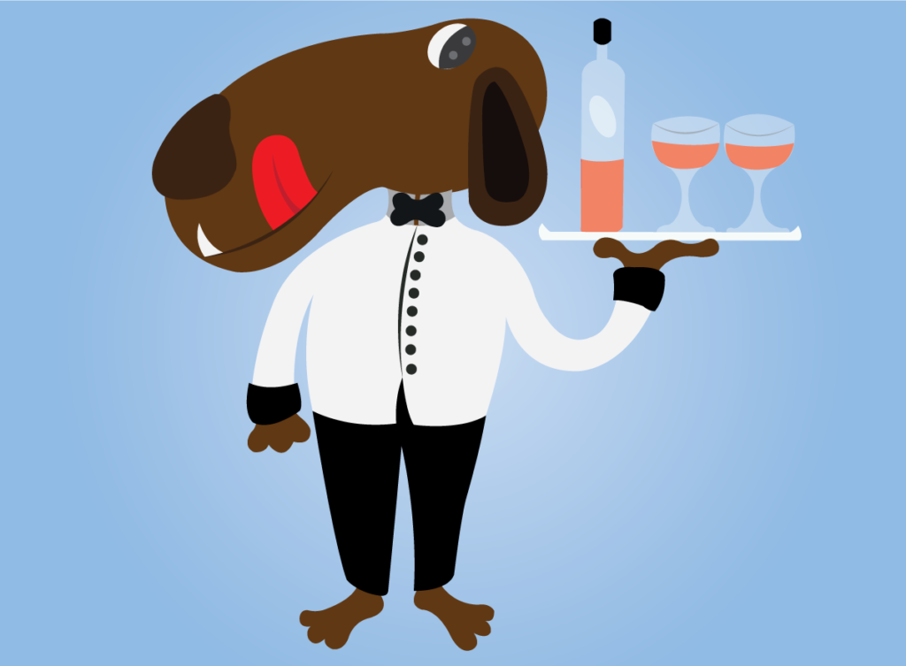 Vector Issue #6104: Snoopy dog serving drinks at a popular restaurant
