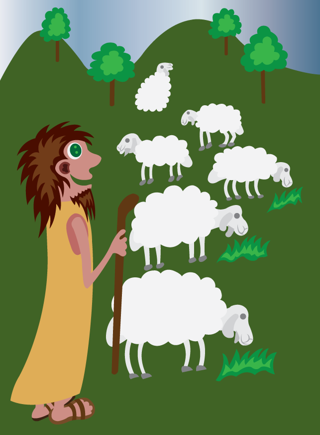 Vector Issue #6105: A shepherd herding his ship in the country side,