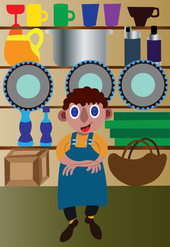 Vector Issue #6106: A shopkeeper stands next to his shop