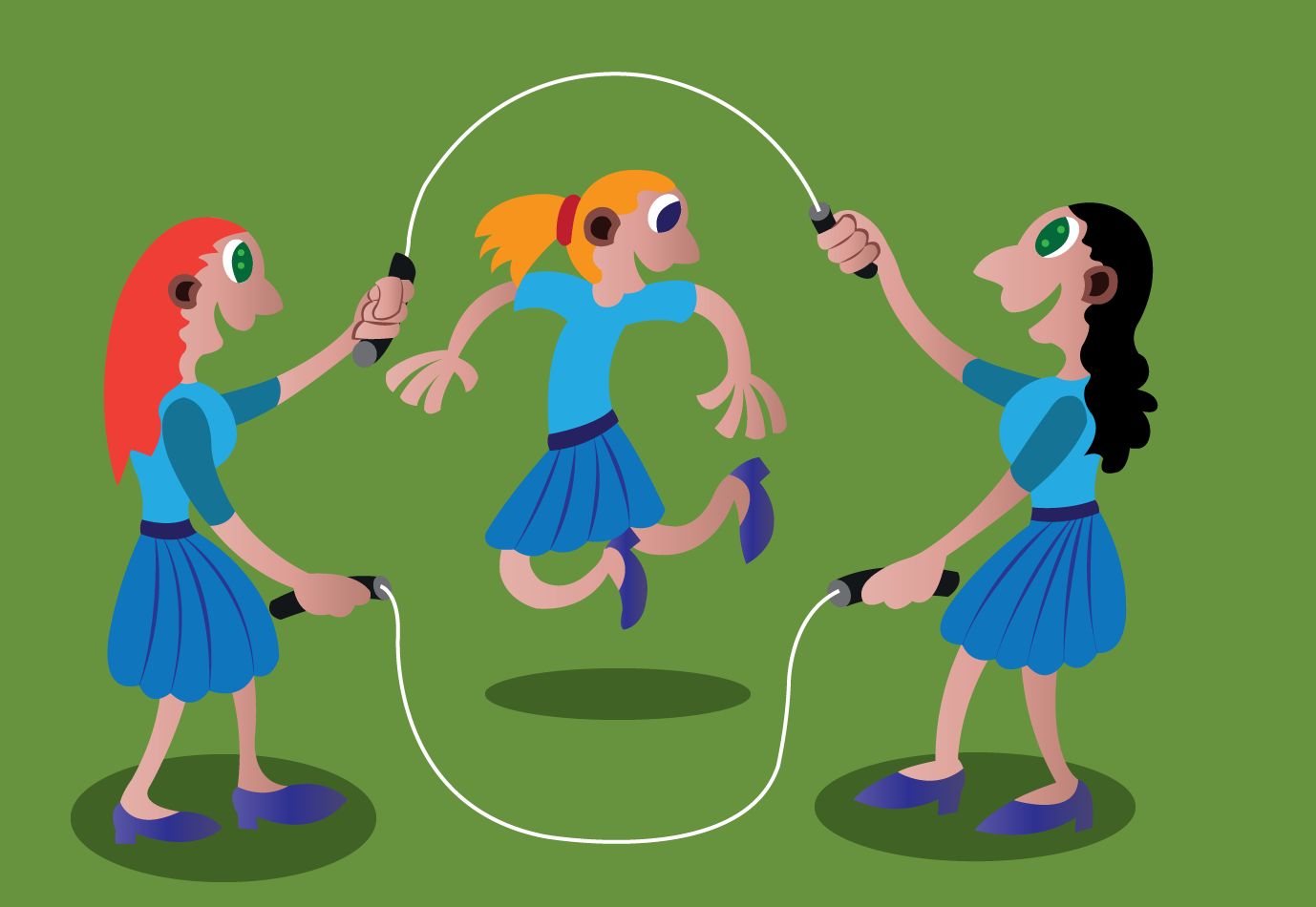 Vector Issue #6648: a bunch of school girls playing skipping rope