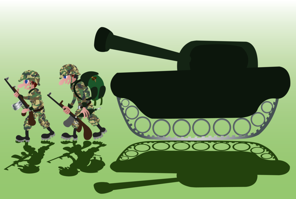 Vector Issue #6352: A bunch of soldiers marching to the battlefield with tank support