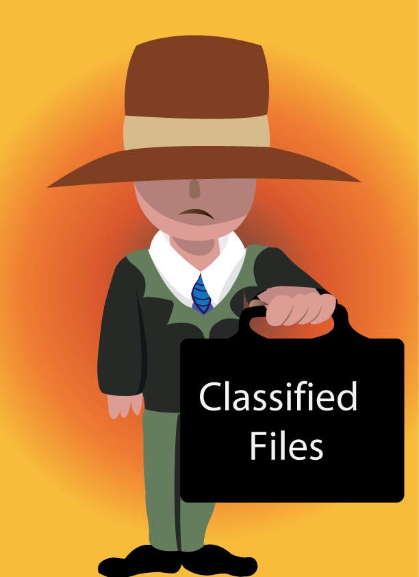 Vector Issue #6109: a secret service man holds top classified files