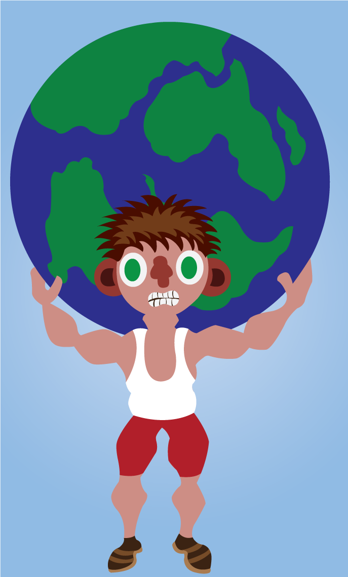 Vector Issue #6572: Being the Strongman all the time 2-a man lifting a globe sized weight on his back