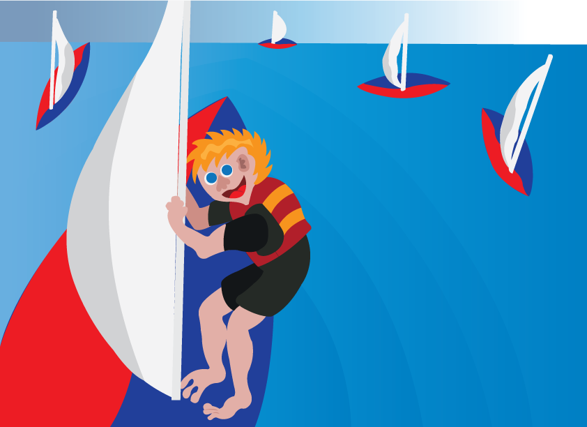 Vector Issue #6432: Lagoon Sailing, a sailor Cruising in shallow waters