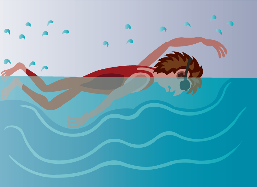Vector Issue #6233: a professional swimmer enjoying himself in the pool